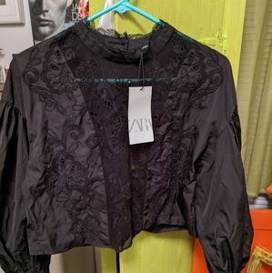 Zara taffeta lace cropped blouse